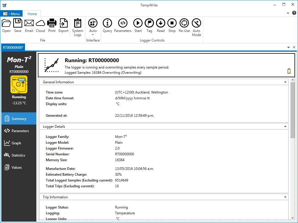 TempWrite summary screen.