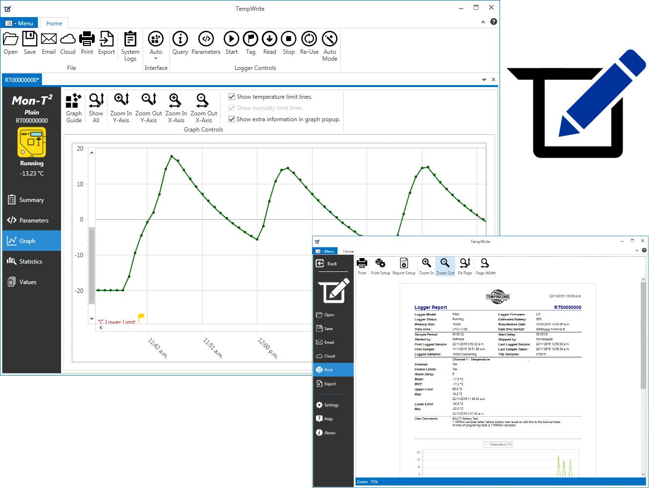 TempWrite screenshots.