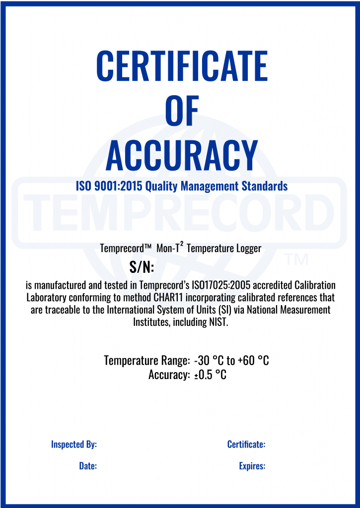 Temprecord certificate of accuracy
